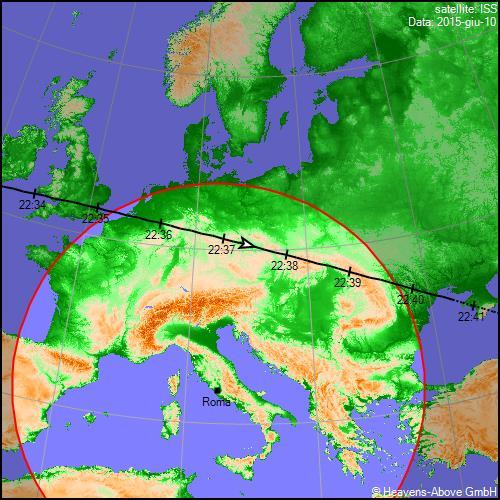 10/06/2015, traiettoria Stazione Spaziale Internazionale sull'Italia