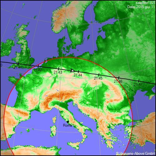 11/06/2015, traiettoria Stazione Spaziale Internazionale sull'Italia