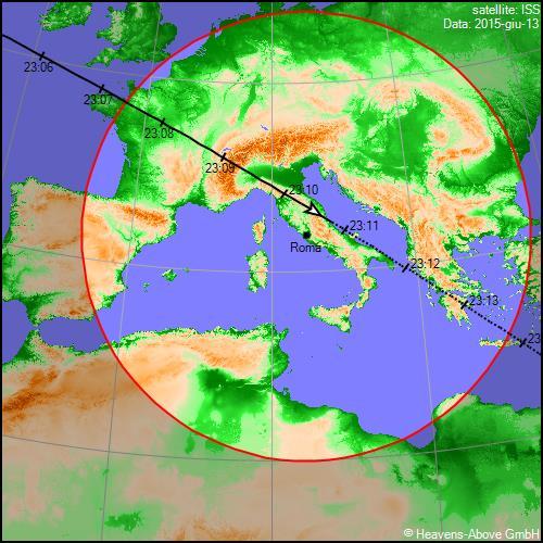 13/06/2015, traiettoria Stazione Spaziale Internazionale sull'Italia (secondo passaggio)
