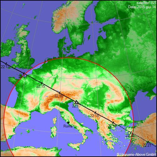 14/06/2015, traiettoria Stazione Spaziale Internazionale sull'Italia