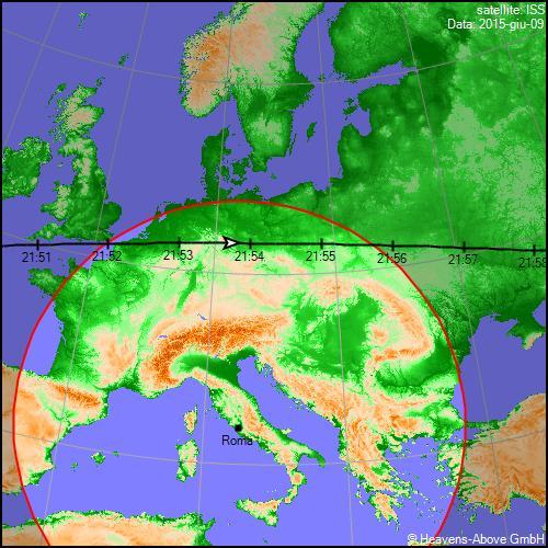 09/06/2015, traiettoria Stazione Spaziale Internazionale sull'Italia (secondo passaggio)