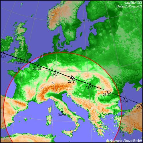 09/06/2015, traiettoria Stazione Spaziale Internazionale sull'Italia (terzo passaggio)