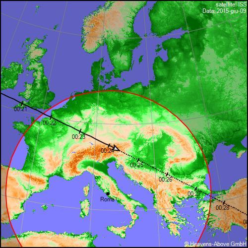 09/06/2015, traiettoria Stazione Spaziale Internazionale sull'Italia
