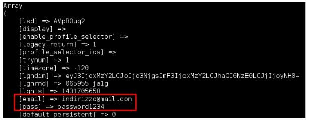 Email e password di Facebook