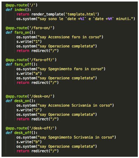 Domotica: listato Python per controllo arduino