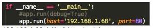 Listato Python: avvio webapp