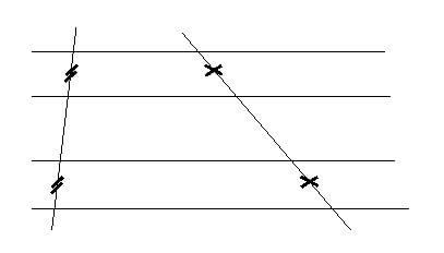 Fascio di rette parallele tagliate da due trasversali