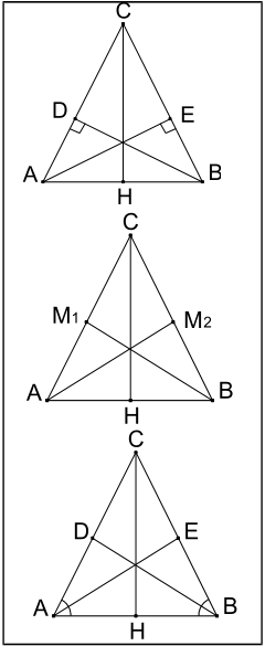 Triangoli isosceli: altezze, bisettrici e mediane