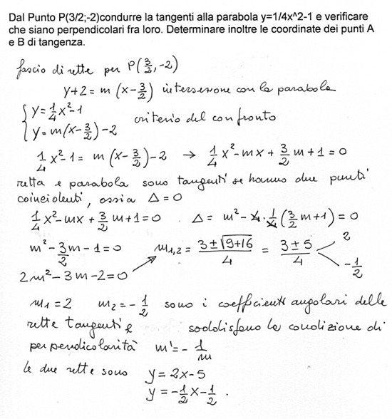 Dal punto p 3 2 2 condurre le tangenti alla parabola y for Punto p esterno alla circonferenza