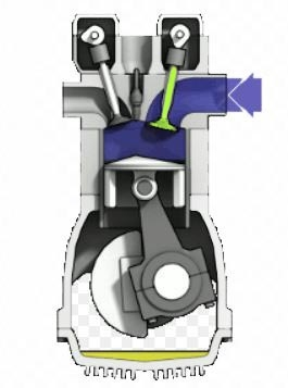 Sezione motore a scoppio con valvola di alimentazione