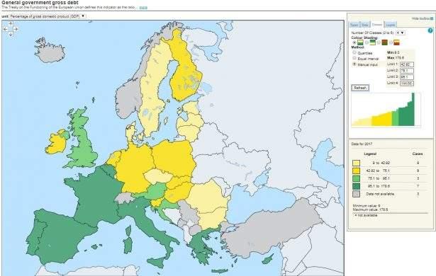 Mappa dell'incremento del rapporto debito/PIL in Europa (Eurostat) per l'anno 2017