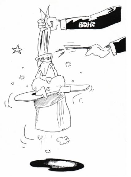 Figure 8: Riproduzione di un disegno di un ex allievo di RS, fatto al termine della lezione dell'autore sull'atomo di Bohr nel 1995. Il disegno originale è di Aldo Torre. La revisione è di un altro ex allievo, Federico Milella, ora disegnatore professionista a Lussemburgo. Sul braccio del mago è scritto: 'Bohr'; sul cappello del coniglio è scritto \( mvr = n\hbar\).