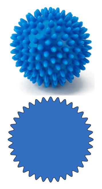 Figure 4: Particella con supericie ondulata e relativa sezione diametrale