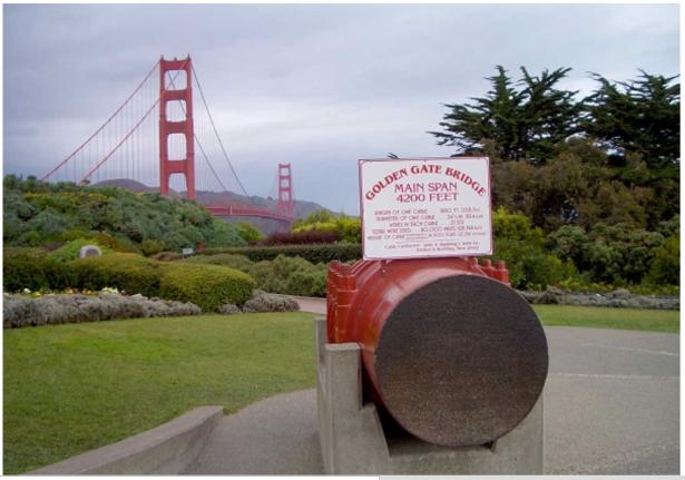 Sezione cavo d'acciaio del ponte Golden Gate a San Francisco