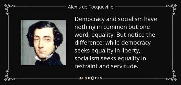 Foto e citazione di Alexis de Tocqueville.