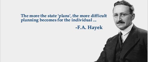 Citazione e foto di F. A. Hayek.