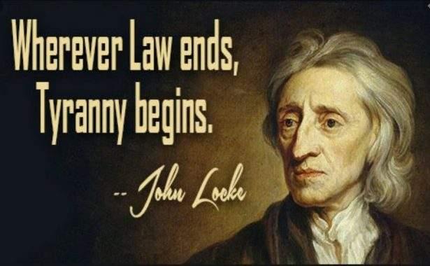 """Citazione di John Locke: """"Dove finisce la legge, comincia la tirannia.""""."""