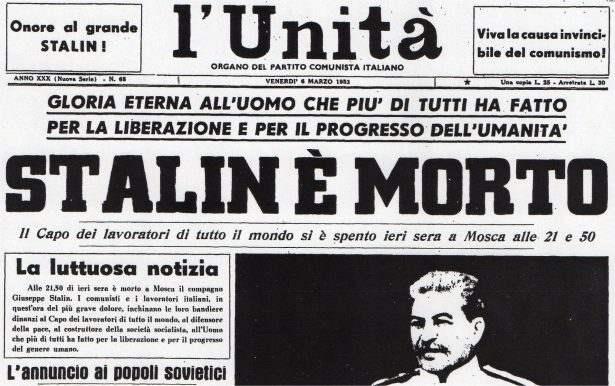 Foto della prima pagina de l'Unità per la morte di Stalin.
