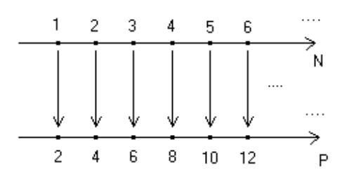 Corrispondenza biunivoca tra insieme dei numeri naturali e insieme dei numeri pari